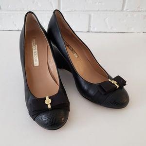 Audrey Brooke Flora Black Wedge Heels